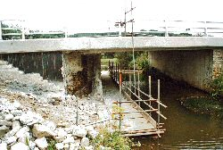 Widening bridge to provide footpath under the A39